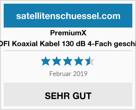 PremiumX PROFI Koaxial Kabel 130 dB 4-Fach geschirmt Test