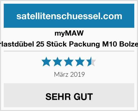 myMAW Schwerlastdübel 25 Stück Packung M10 Bolzenanker Test