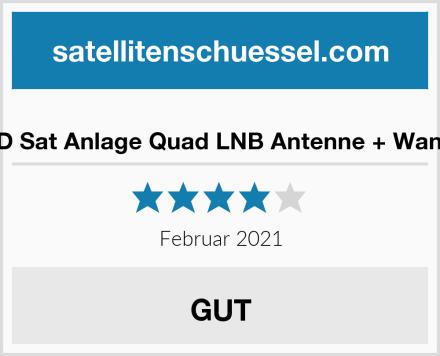 ARLI HD Sat Anlage Quad LNB Antenne + Wandhalter Test