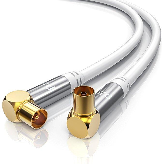 Antennen-Kabel 5m Koaxial Kabel weiss für Analog und Digital Full HD TV geeignet