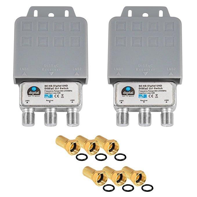 HB-DIGITAL  2x DiseqC Schalter Switch 2/1 mit Wetterschutzgehäuse