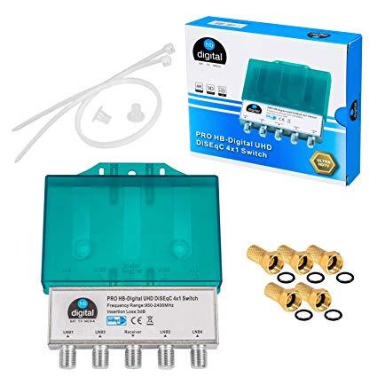HB-DIGITAL  DiseqC Schalter Switch 4/1 mit Wetterschutzgehäuse