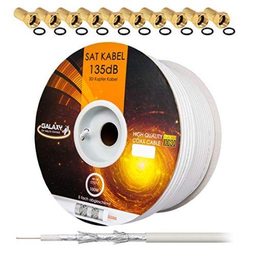 HB-DIGITAL 135dB 100m Koaxial SAT Kabel