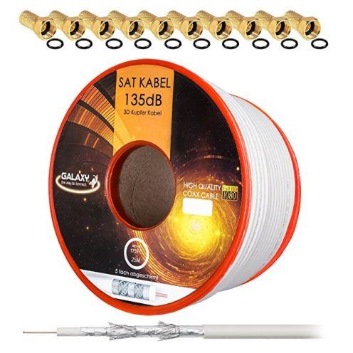 HB-DIGITAL 135dB 25m Koaxial SAT Kabel