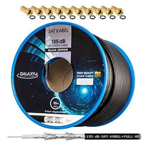HB-DIGITAL 135dB 50m Koaxial Sat Kabel