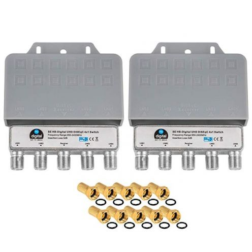 HB-DIGITAL 2X DiseqC Schalter Switch 4/1 mit Wetterschutzgehäuse