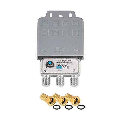 HB-DIGITAL DiseqC Schalter Switch 2/1 mit Wetterschutzgehäuse