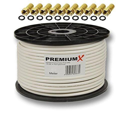 Premiumx PROFI Koaxial Kabel 130 dB 4-Fach geschirmt